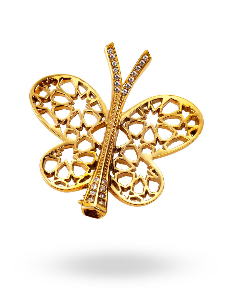 Gold Butterfly Brooch