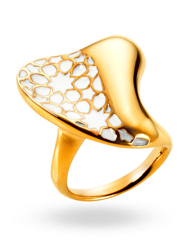Gold & White Heart Ring