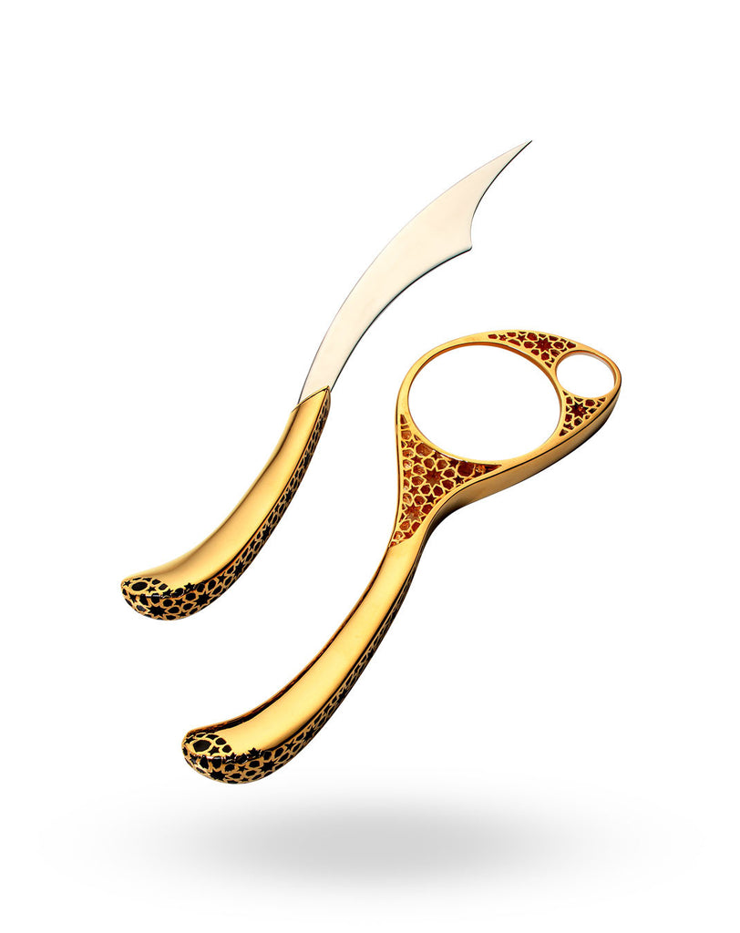 Gold Arabesque Magnifying Glass & Letter Opener Set
