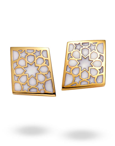 Gold & White Rhombus Earrings