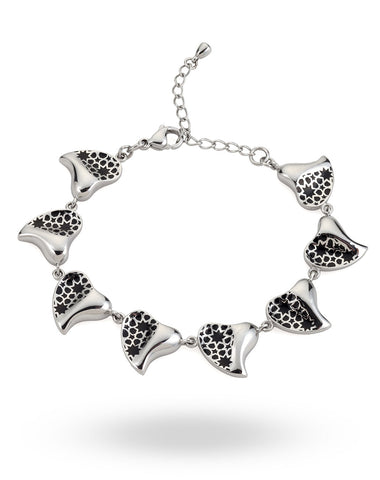 Stainless Steel & White Heart Bracelet