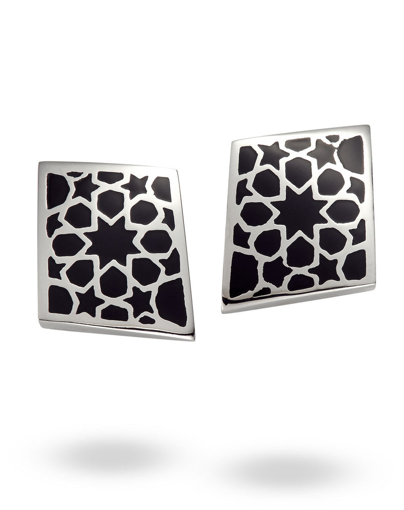 Stainless Steel & Black Rhombus Earrings
