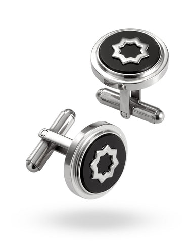 Stainless Steel & Black Truffles Cufflinks