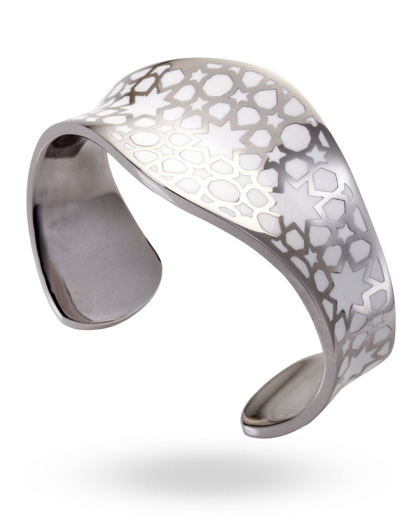 Stainless Steel & White Pular Bangle