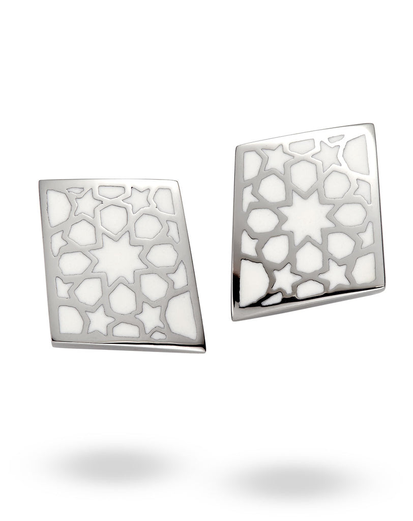 Stainless Steel & White Rhombus Earrings