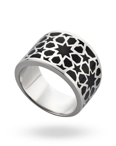 Stainless Steel & Black Cube Ring