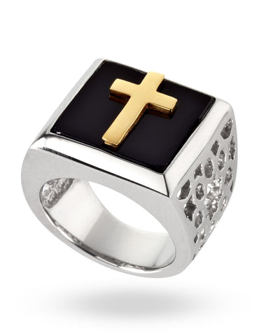 Gold & Black Abraham Crescent Ring