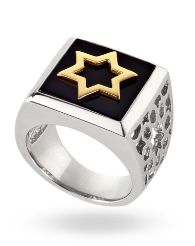 Gold & White Abraham Ring