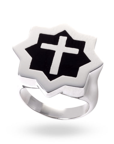 Stainless Steel & Black Abraham Cross Ring