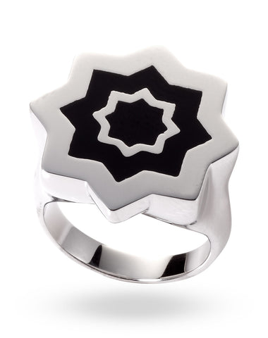 Stainless Steel & Black Abraham Ring