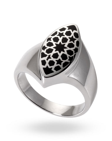 Stainless Steel & Black Flurita Ring