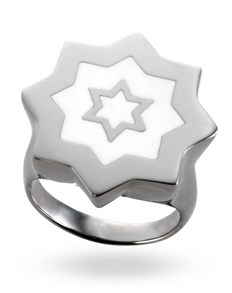 Stainless Steel & White Abraham David Ring