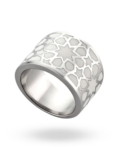 Stainless Steel & White Roundabout Ring