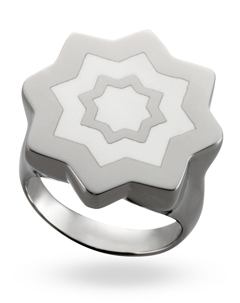Stainless Steel & White Abraham Ring