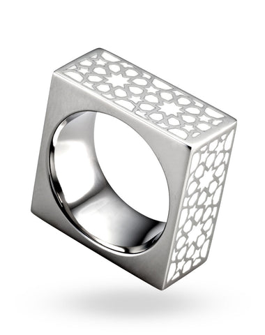 Stainless Steel & White Cube Ring