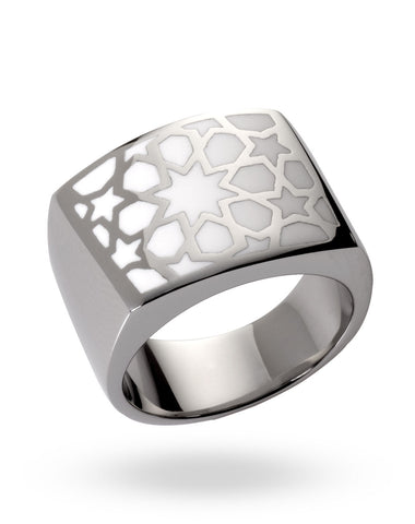 Stainless Steel & White Abraham Crescent Ring
