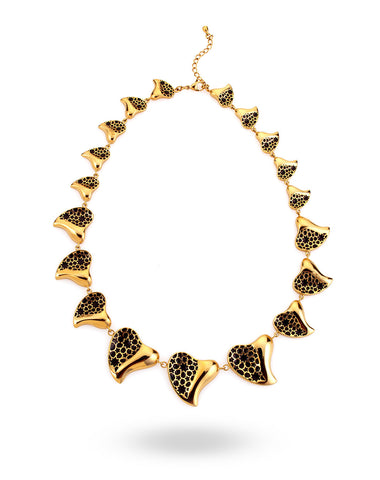 Gold & Black Heart Necklace