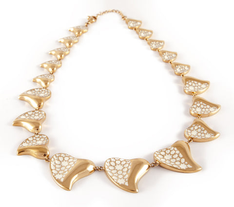 Gold & White Heart Necklace