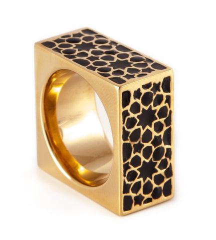 Gold & Black Cube Ring