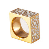 Gold & White Cube Ring