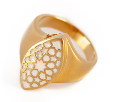 Gold & White Flurita Ring