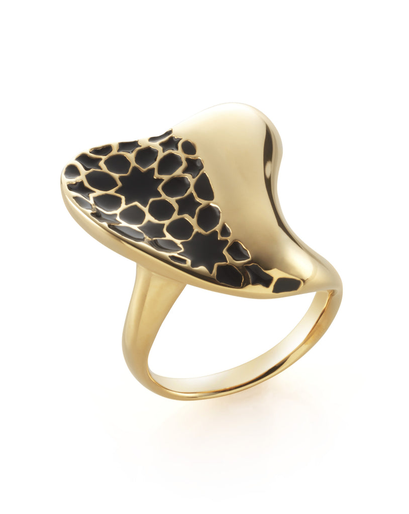Gold & Black Heart Ring