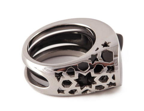 Stainless Steel & Black Intersection Ring