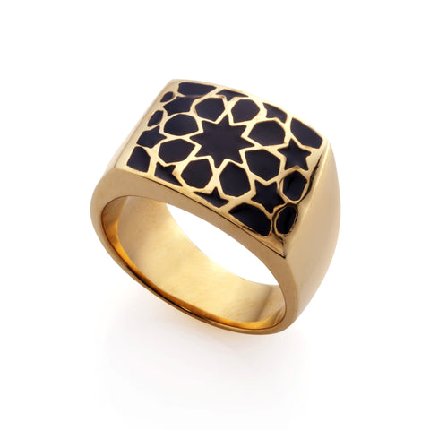 Gold & Black Lama Ring