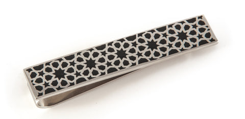 Stainless Steel & Black Arabesque Tie Clip