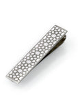 Stainless Steel & White Arabesque Tie Clip