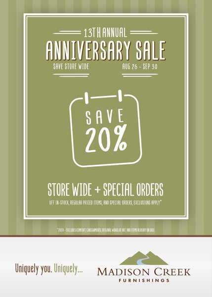 13th Annual Anniversary Sale - Save 20% Store Wide