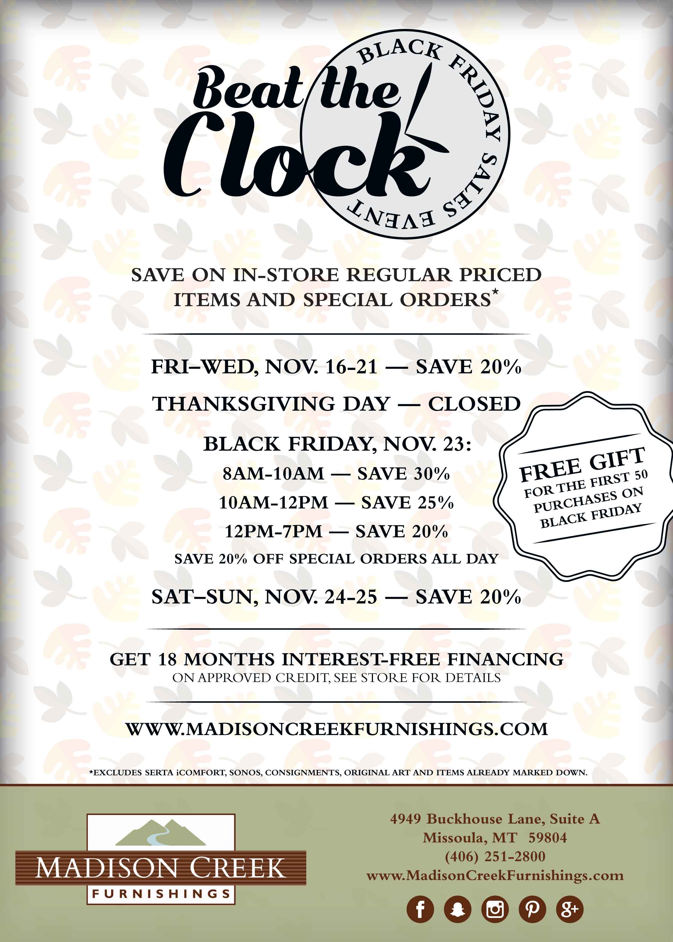 SAVE BIG NOV 16th – 25th DURING OUR BLACK FRIDAY SALE