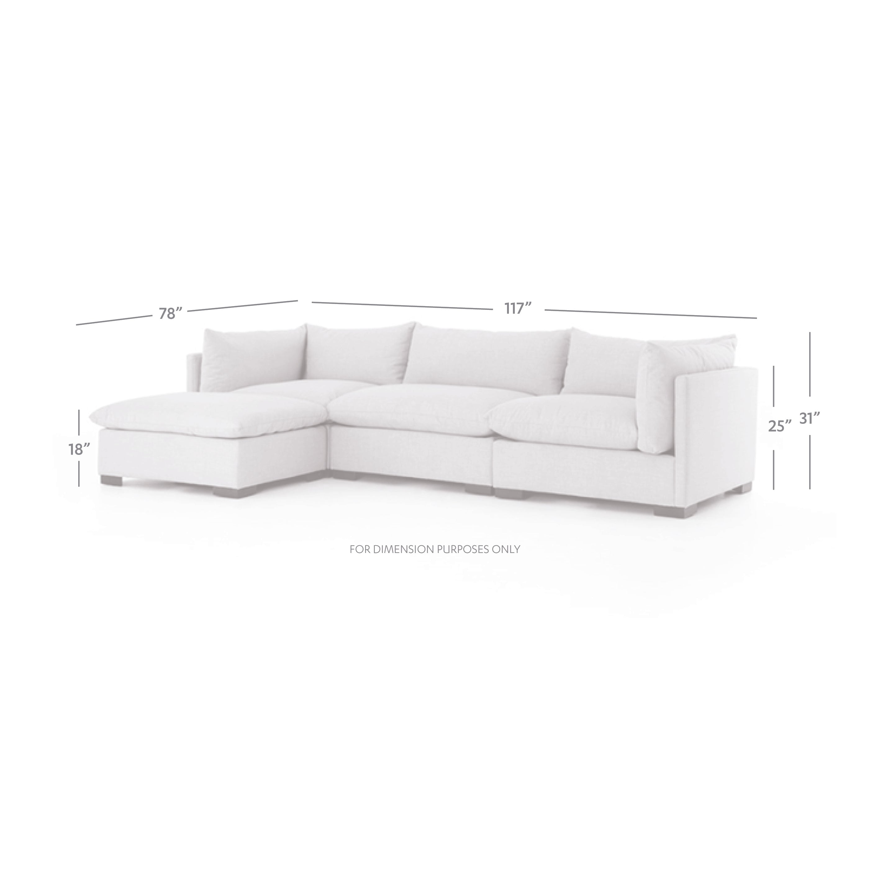 Admirable Westwood 3 Piece Sectional Short Links Chair Design For Home Short Linksinfo