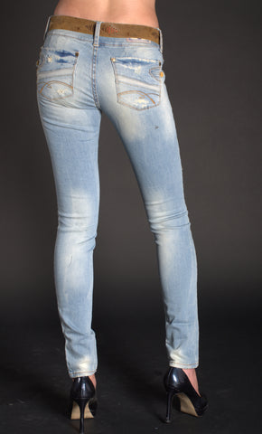 Golden Sunset Distressed Skinny Jeans 3251
