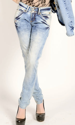 Rock On Stone Wash Skinny Jeans 3085