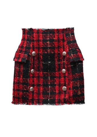New Fashion Runway 2018 Baroque Designer Skirt Women's Lion Buttons Colors Plaid Tweed Wool Mini Skirt
