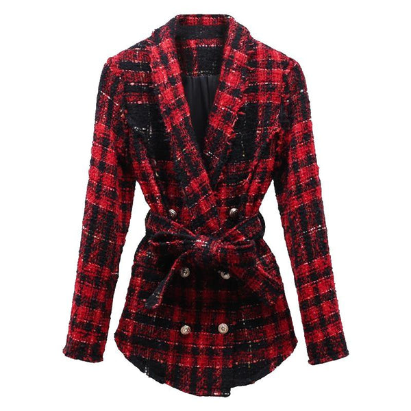 Plaid Tweed Belted Coat