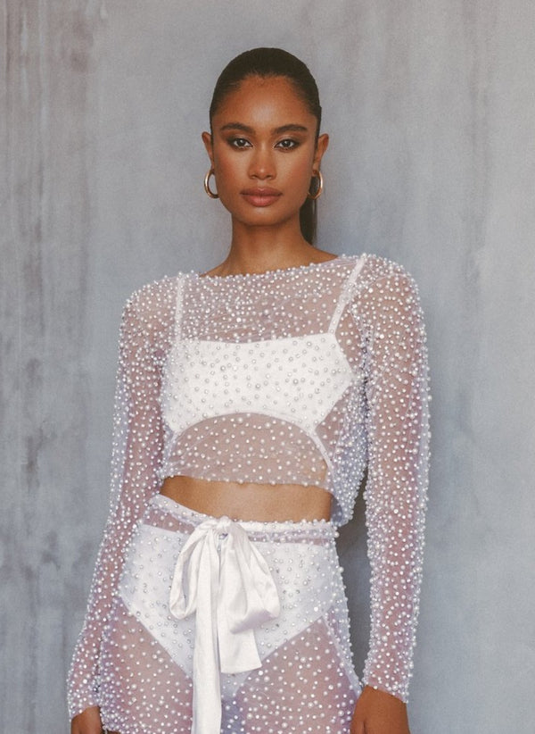 PEARL JEWELED BLOUSE - Lurelly