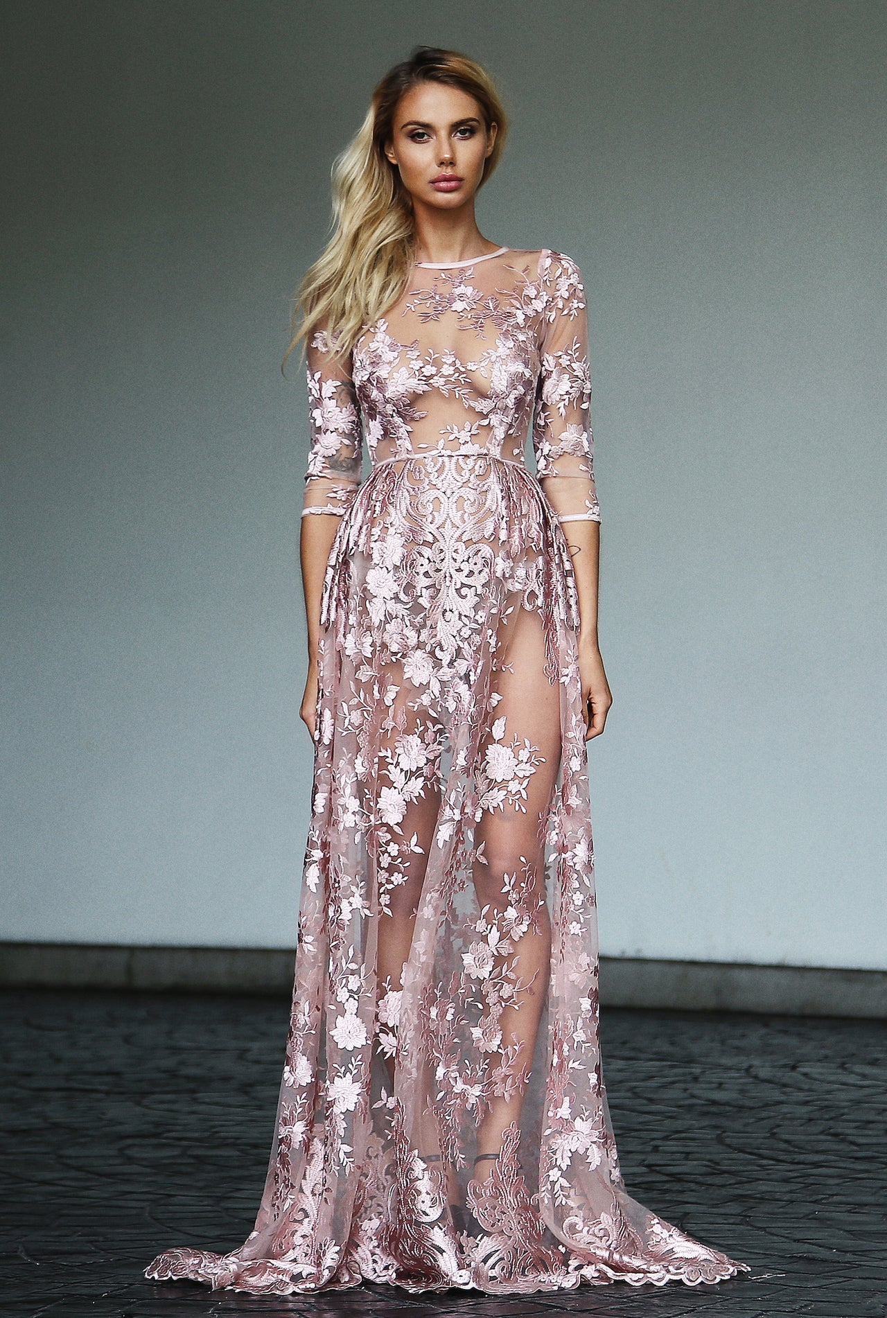 SHEER EMBROIDERED GOWN - Lurelly