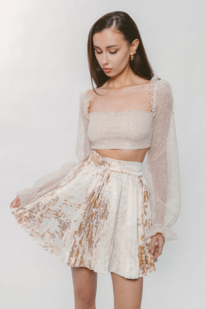 GOLD PLEATED SKIRT Thumbnail - Lurelly