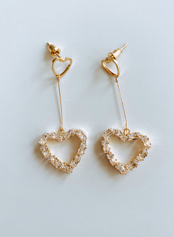 HEART O'GOLD DROP EARRINGS - Lurelly