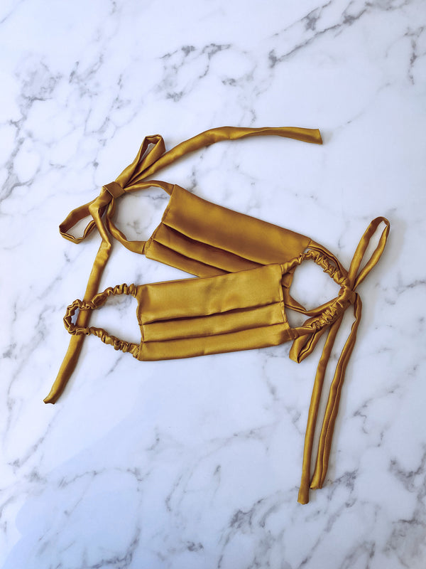 MUSTARD SILK MASK - Lurelly