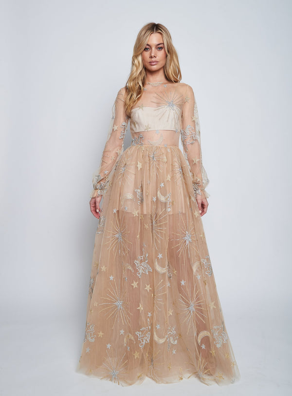 NEPTUNE'S TULLE DRESS (TAN) SALE - Lurelly
