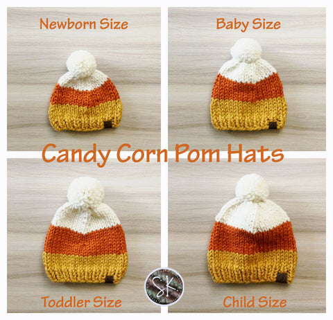 Candy Corn Pom Hats in 4 sizes