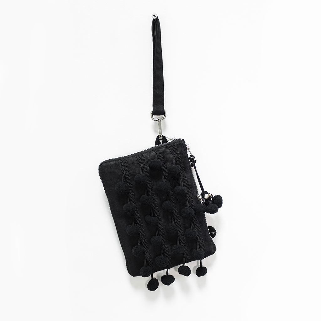 Night Pom Pom Mini Clutch Convertible Shoulder Bag