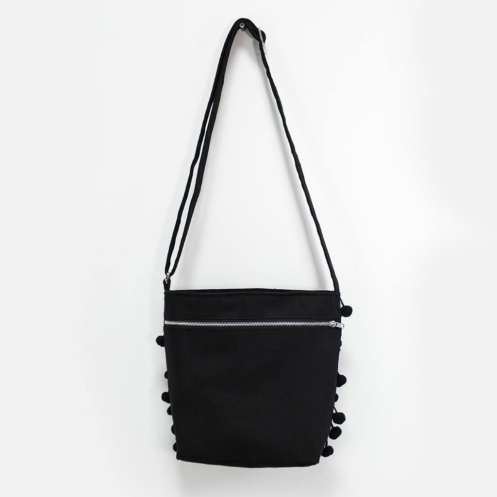 Night Pom Pom Shoulder Bag
