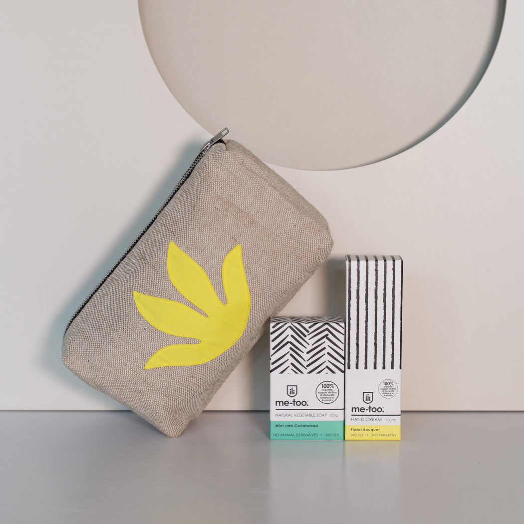 WEFT Botanical Makeup Bag + Me Too Hand Cream and Soap Gift Set