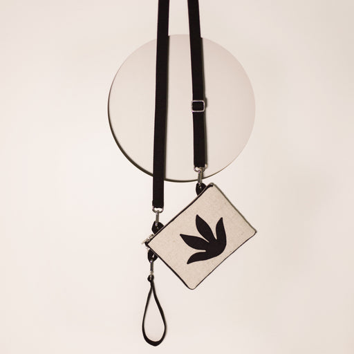 Black Botanical Mini Clutch/Convertible Shoulder Bag