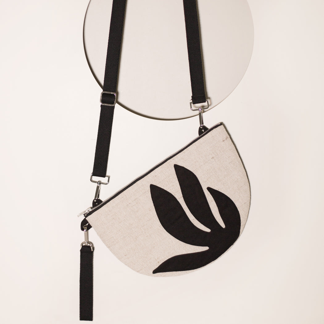 Black Botanical Half Moon Clutch/Convertible Shoulder Bag
