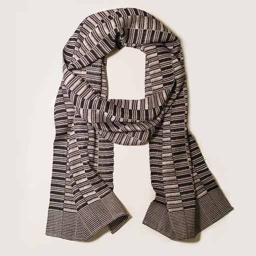 HAND-LOOMED MIE MEH SCARF BLACK + SAND